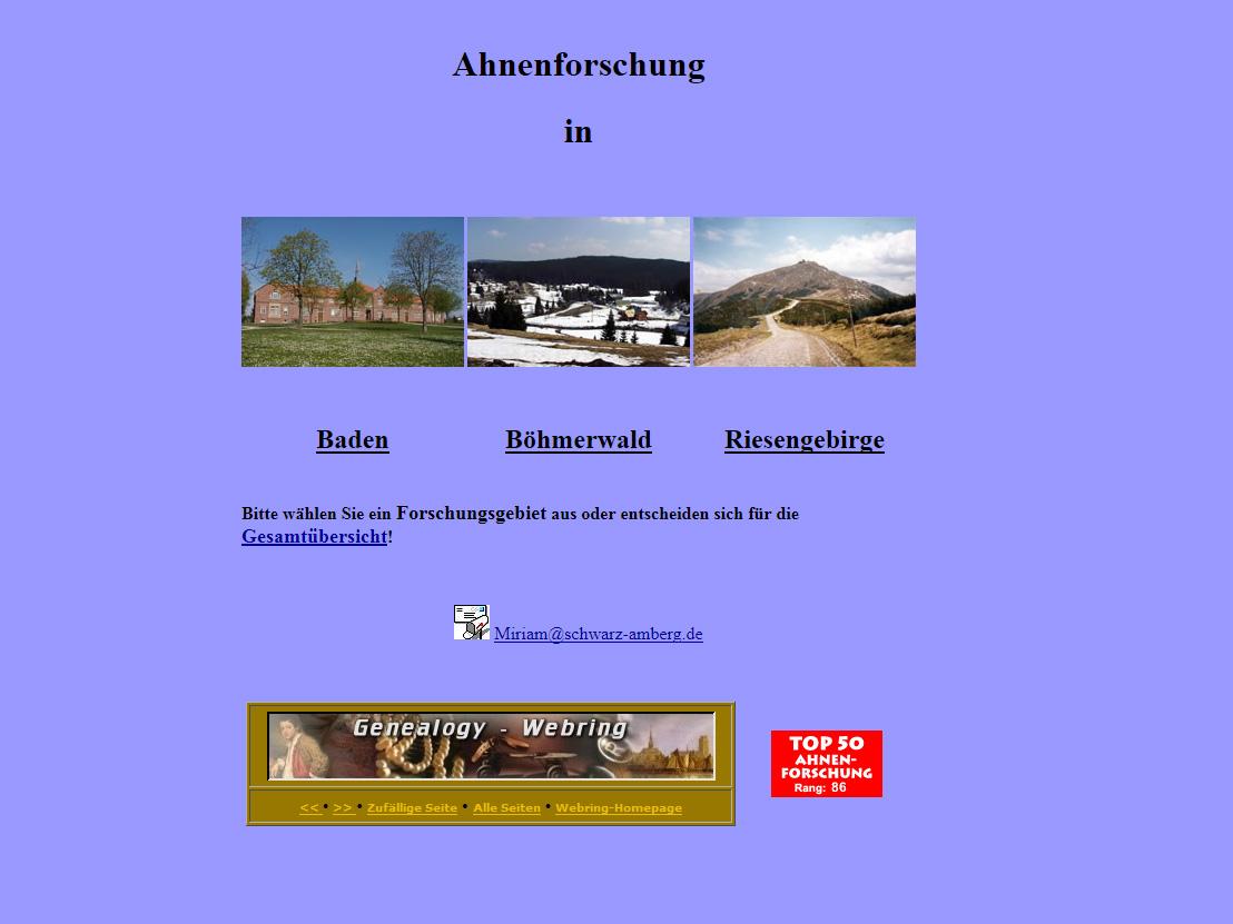 Ahnenforschung Schwarz – Liebl – Antritter – Lath ist online !