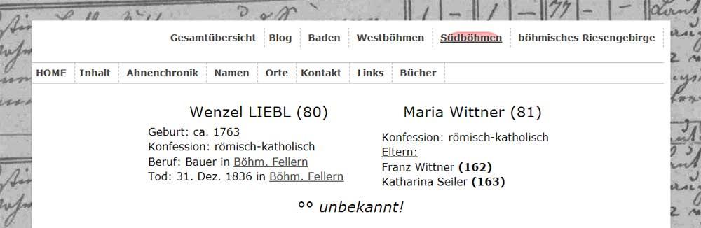 Maria wittner - Ehefrau von wenzel Liebl - Lebensdaten in meiner alten Homepage